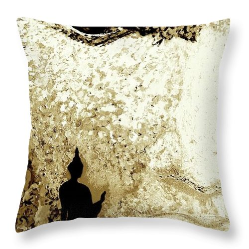 Buddha Asian Culture Mountain Forest Big Face Throw Pillow featuring the painting Buddha by Yelena Wilson