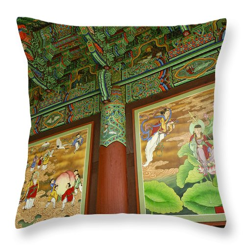 Buddha Throw Pillow featuring the photograph Buddhist Murals by Michele Burgess