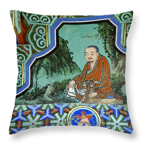 Buddha Throw Pillow featuring the photograph Buddhist Temple Art by Michele Burgess