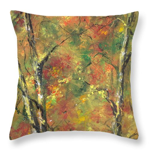 Arkansastrees In Fall Throw Pillow featuring the painting Buffalo River National Park Study 2 by Robin Miller-Bookhout