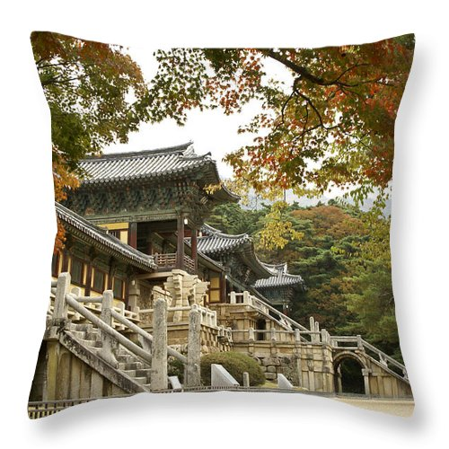 Korea Throw Pillow featuring the photograph Bulguksa Buddhist Temple by Michele Burgess