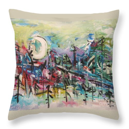 Abstract Paintings Throw Pillow featuring the painting Bummer Flat2 by Seon-Jeong Kim