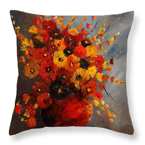 Flowers Throw Pillow featuring the painting Bunch 0708 by Pol Ledent