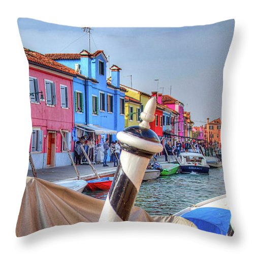 Burano Venice Italy Throw Pillow featuring the photograph Burano Venice Italy by Paul James Bannerman
