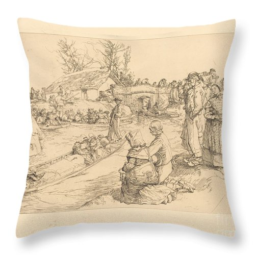 Throw Pillow featuring the drawing Burial In The Vendeen Marsh (un Enterrement Dans Le Marais Vendeen) by Auguste Lep?re
