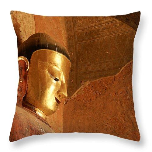 Buddha Throw Pillow featuring the photograph Burmese Buddha by Michele Burgess