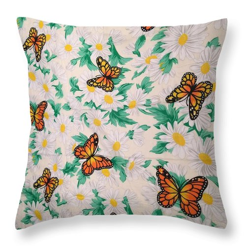 Throw Pillow featuring the photograph Butterflies And Daisies - 1 by Bruce Cohose
