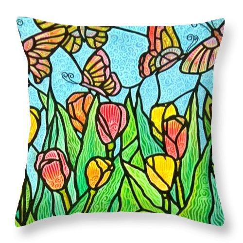 Butterflies Throw Pillow featuring the painting Butterflies in the Tulip Garden by Jim Harris
