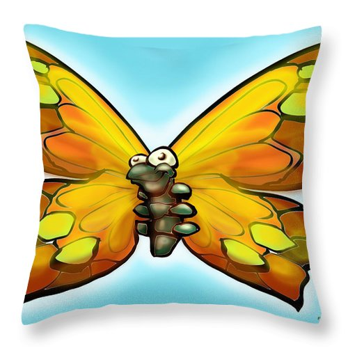 Butterfly Throw Pillow featuring the painting Butterfly by Kevin Middleton