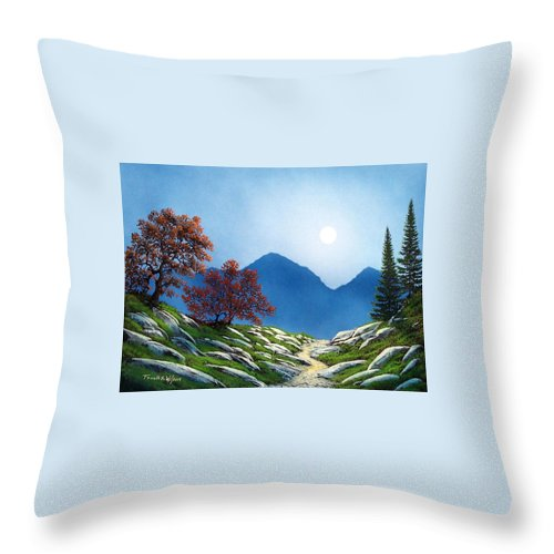 Landscape Throw Pillow featuring the painting By The Light Of The Moon by Frank Wilson