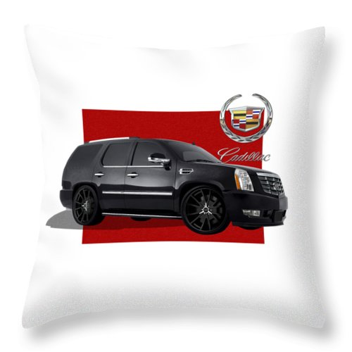 �cadillac� By Serge Averbukh Throw Pillow featuring the photograph Cadillac Escalade with 3 D Badge by Serge Averbukh