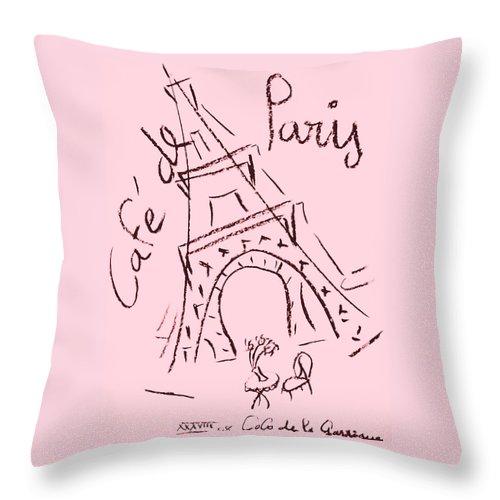 Eiffel Tower. Throw Pillow featuring the digital art Cafe De Paris by Coco de la Garrigue