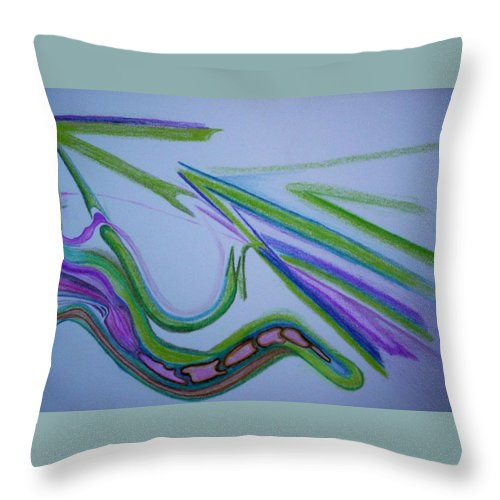 Abstract Throw Pillow featuring the drawing Canal by Suzanne Udell Levinger