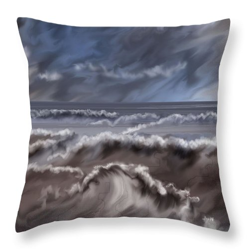 Seascape Throw Pillow featuring the painting Caramel Seas by Anne Norskog