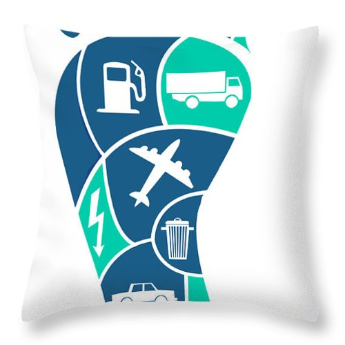 Artwork Throw Pillow featuring the photograph Carbon Footprint, Conceptual Image by Spencer Sutton