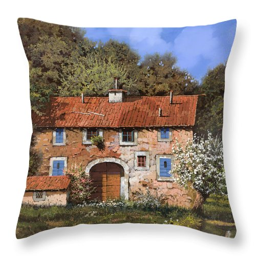 Farm Throw Pillow featuring the painting Casolare A Primavera by Guido Borelli