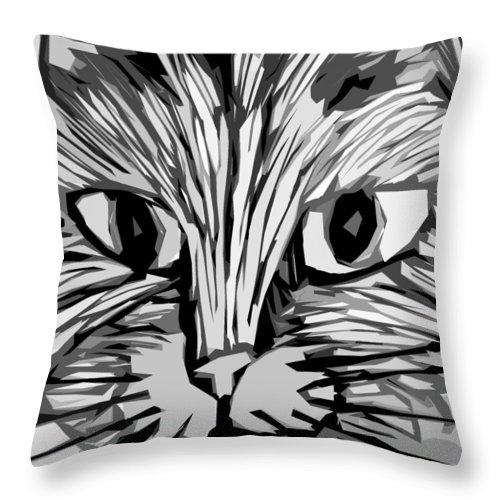 Cats Throw Pillow featuring the digital art Cat by Michelle Calkins