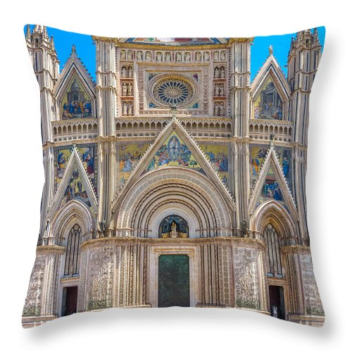 Ancient Throw Pillow featuring the photograph Cathedral Of Orvieto, Duomo Di Orvieto, Umbria, Italy by JR Photography