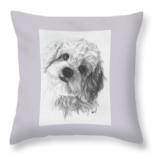 Designer Dog Throw Pillow featuring the drawing Cava-chon by Barbara Keith