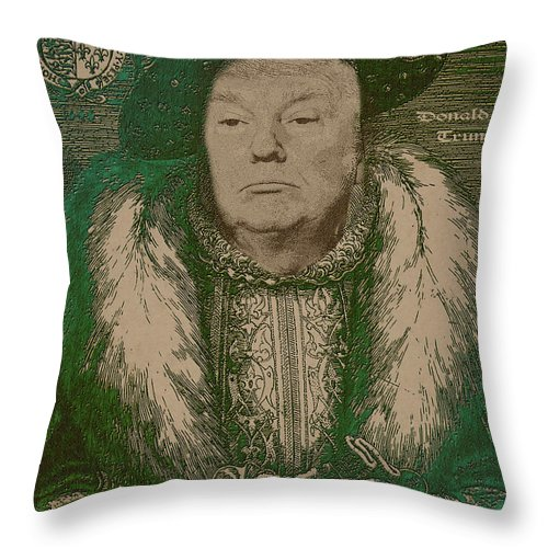 'celebrity Etchings' Collection By Serge Averbukh Throw Pillow featuring the photograph Celebrity Etchings - Donald Trump by Serge Averbukh