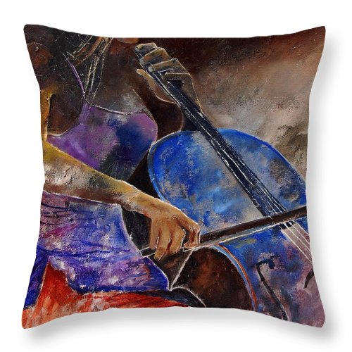 Music Throw Pillow featuring the painting Cello Player by Pol Ledent