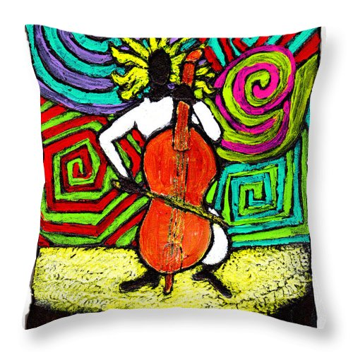 Music Throw Pillow featuring the painting Cello Soloist by Wayne Potrafka