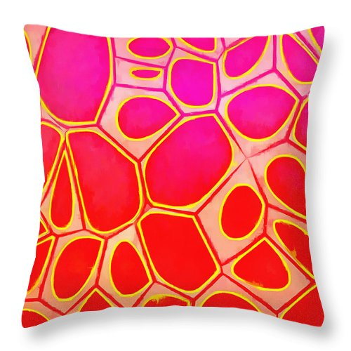 Painting Throw Pillow featuring the painting Cells Abstract Three by Edward Fielding