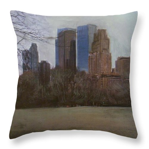 Central Park Throw Pillow featuring the painting Central Park by Anita Burgermeister