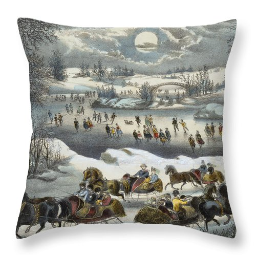 Print Throw Pillow featuring the painting Central Park In Winter by Currier and Ives