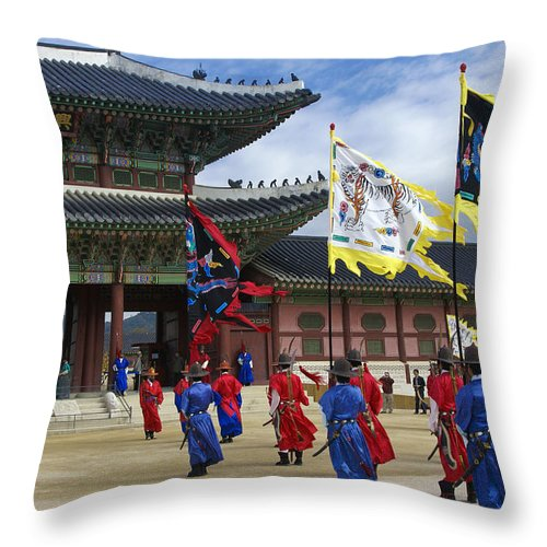 South Korea Throw Pillow featuring the photograph Changing Of The Guard by Michele Burgess