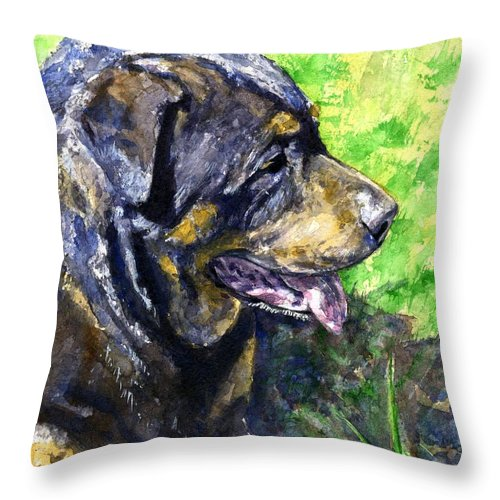Rottweiler Throw Pillow featuring the painting Chaos by John D Benson