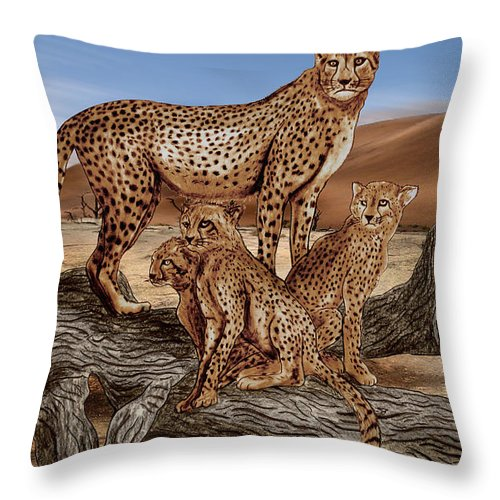 Cheetah Family Tree Throw Pillow featuring the drawing Cheetah Family Tree by Peter Piatt
