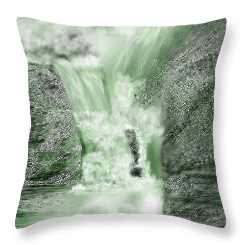 White Water Throw Pillow featuring the painting Cherry Creek Lower Run by Anne Norskog