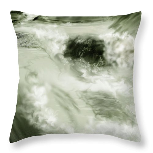 White Water Landscape Throw Pillow featuring the painting Cherry Creek White Water by Anne Norskog