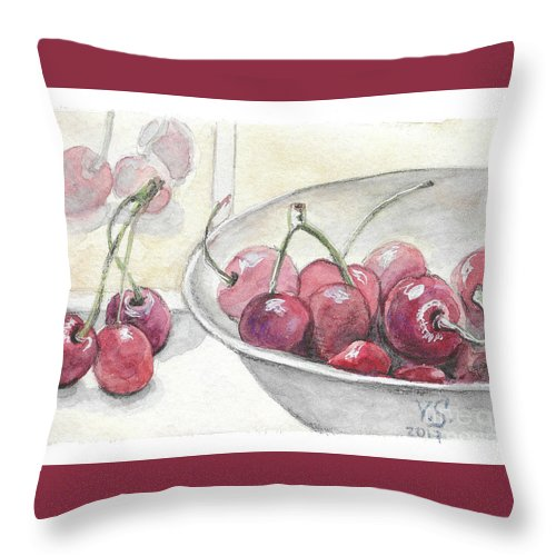 Cherry Throw Pillow featuring the painting Cherry by Yana Sadykova