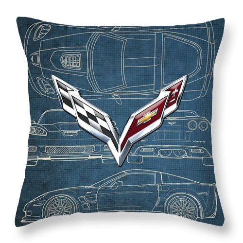 �wheels Of Fortune� By Serge Averbukh Throw Pillow featuring the photograph Chevrolet Corvette 3 D Badge Over Corvette C 6 Z R 1 Blueprint by Serge Averbukh