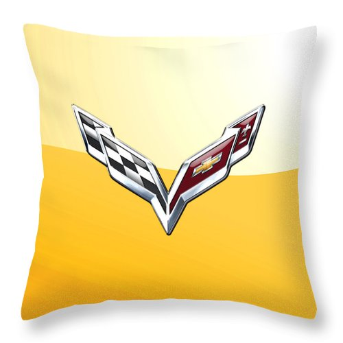 �wheels Of Fortune� Collection By Serge Averbukh Throw Pillow featuring the photograph Chevrolet Corvette 3D Badge on Yellow by Serge Averbukh