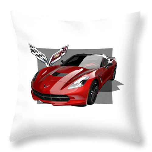 �chevrolet Corvette� By Serge Averbukh Throw Pillow featuring the photograph Chevrolet Corvette C 7 Stingray with 3 D Badge by Serge Averbukh