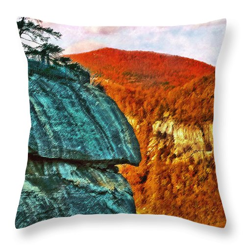 Landscape Throw Pillow featuring the painting Chimney Rock by Steve Karol