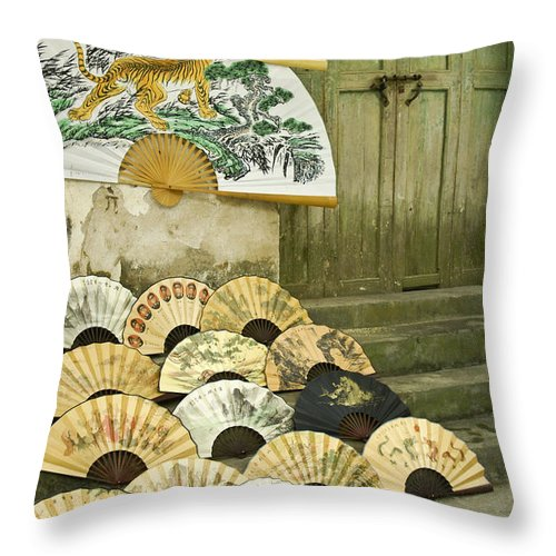 Asia Throw Pillow featuring the photograph Chinese Fans by Michele Burgess