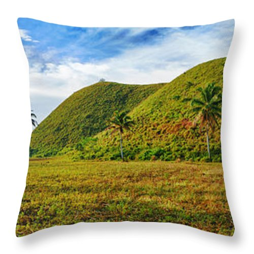 Hills Throw Pillow featuring the photograph Chocolate Hills by MotHaiBaPhoto Prints