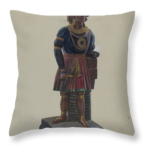 Throw Pillow featuring the drawing Cigar Store Indian by Henry Granet