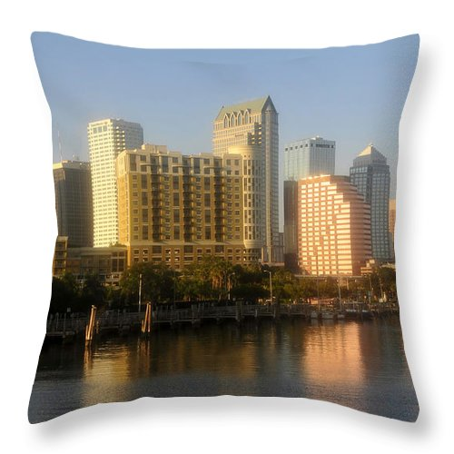 Tampa Florida Throw Pillow featuring the photograph City By The Bay by David Lee Thompson