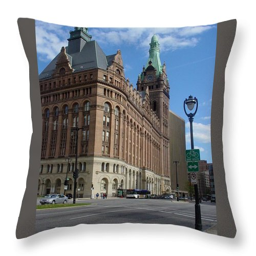 Milwaukee Throw Pillow featuring the photograph City Hall And Lamp Post by Anita Burgermeister