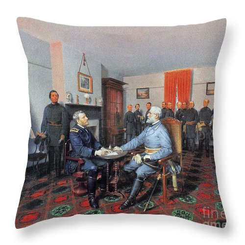 1865 Throw Pillow featuring the photograph Civil War: Appomattox, 1865 by Granger
