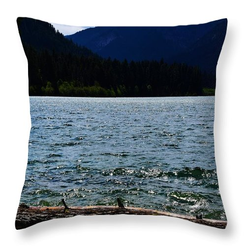 Clear Lake Throw Pillow featuring the photograph Clear Lake Washington by LKB Art and Photography