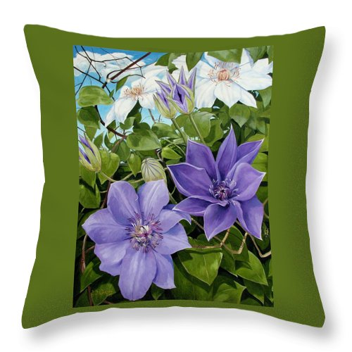 Clematis Throw Pillow featuring the painting Clematis 2 by Jerrold Carton