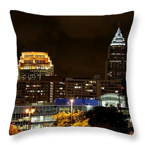 Destination Throw Pillow featuring the pyrography Colorful Sky Above The City On The Shore by Douglas Sacha