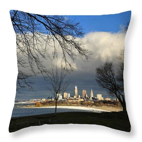 Destination Throw Pillow featuring the photograph Cleveland Winter Dawn by Douglas Sacha
