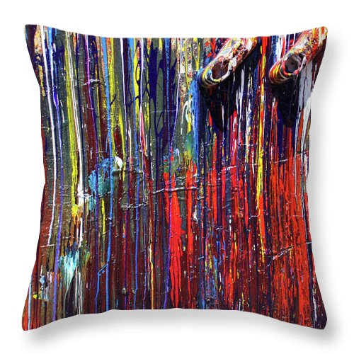Fusionart Throw Pillow featuring the painting Climbing the Wall by Ralph White